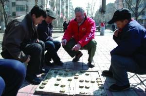 Dan Ben-Canaan (center) with Harbin residents