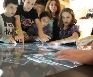 Kids at one of the museum's interactive stands.