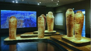 Standing coffins in the archaeology wing
