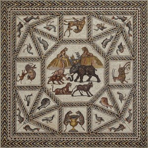 Detail from the central panel of the mosaic floor                                                                                      Nicky Davidov/Courtesy of the Israel Antiquities Authority