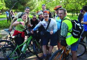 Sadan (center) with a group of cyclists in Istanbu