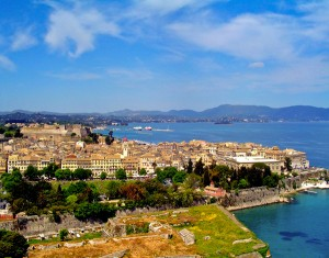 Corfu town as seen from the Old Fortress.  Photo courtesy of Greek Tourism.