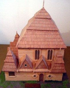 Model of Wysokie Mazoweckie Synagogue,  built c.1610, earliest recorded wooden synagogue.