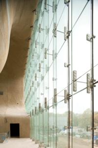Glass wall in the museum's lobby. Photoby Juha Salminen.