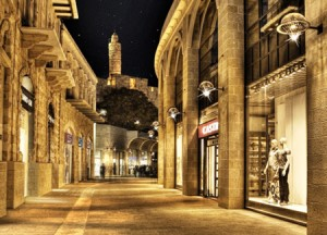 The Mamilla Mall at night.