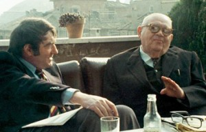 Filmmaker Claude Lanzmann (left) meeting with  Benjamin Murmelstein in 1975.