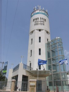 Nahariya's water tower is the symbol of the city. Photo by Esther Hecht.
