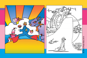 'The Cosmic Runner,' Version 1, No. 11, 2004, acrylic and  silkscreen, and a drawing from the 'Cosmic Series.' All images courtesy of Peter Max.