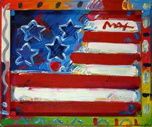 'Flag With Heart,' XII, #218, 2011,  acrylic on canvas, 20 x 24 inches.