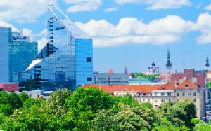 Tallinn's skyline juxtaposes modern building and fanciful spires.  Photo by Toomas Tuul/Tallinn City Tourist Office & Convention Bureau.