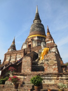 Remains of the ancient Buddhist temple in  Ayutthaya, former capital of Thailand.
