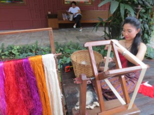 A silkweaving demonstration at the Jim Thompson  House and Museum.