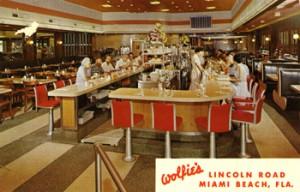 Vintage postcard featuring Wolfie's.