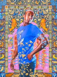 'Alios Itzhak' 2011, oil and gold enamel on canvas. The Jewish Museum, NY Purchase: Gift of Lisa and Steven Tananbaum Family Foundation; Gift in honor of Joan Rosenbaum by the Contemporary Judaica, Fine Arts, Photography, and Traditional Judaica Acquisitions Committee Funds, 2011-31. © Kehinde Wiley. Courtesy Roberts & Tilton, Culver City, CA