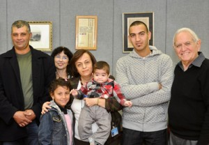Donors, recipients and staff at their first meeting; (from left) Muhamad Azzam; Hala Bayumi, 8, in front of Amal Bishara; Shoshana Israel, holding 18-month-old Muhamad; Maharan; and Dr. Chaim Brautbar.