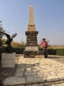 Yerach Paran stands next to the memorial to the fallen Turkish pilots. Photo by Esther Hecht.