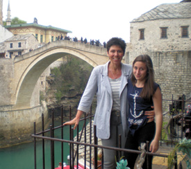 Sally Becker and her daughter, Billie, in Mostar.