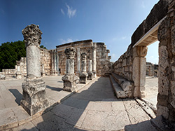The ancient ruins of a synagogue at Capernaum. Photo courtesy of Mordagan/www.goisrael.com.