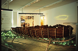 "The ""Jesus Boat""  on view at the Yigal Allon Center. Photo courtesy of Itamar Grinberg/www.goisrael.com."