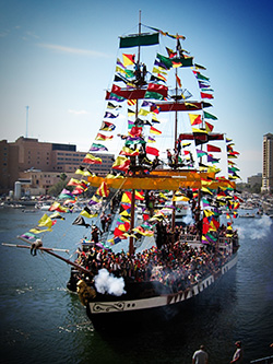 The Gasparilla celebration is an annual, Mardi Gras-like festival.