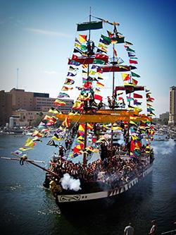 The Gasparilla celebration is an annual, Mardi Gras-like festival.