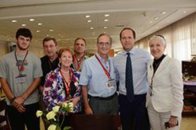 Mission participants, from left: Noah Goldman, Burton Krull, Marlene Post, Josh Davidson, Louis Numkin, Jerusalem Mayor Nir Barakat and Marcie Natan.