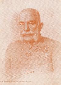 Kaiser Franz Joseph I's portrait by David Kohn, in the artist's signature rotel style.