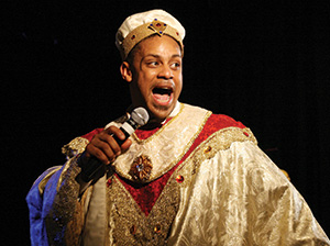 Nelson onstage in his bejeweled tunic.
