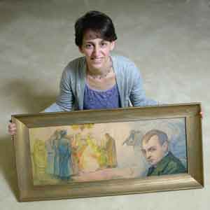 Elizabeth Rynecki with one of her great-grandfather's paintings; all images courtesy of Elizabeth Rynecki.