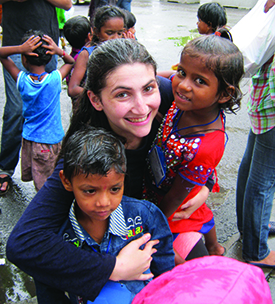 GPM participant Melissa Rutman, with Mumbai children.
