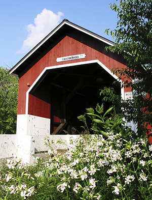 Covered bridges—like this one in Swanzey—dot New Hampshire's majestic landscape.