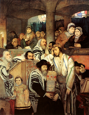'Jews Praying in the Synagogue on Yom Kippur,' by Maurycy Gottlieb.