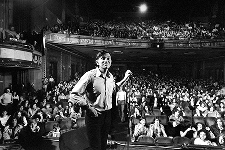 Rock promoter Bill Graham onstage w. audience visible, at Fillmore East. (Photo by John Olson/The LIFE Picture Collection/Getty Images)