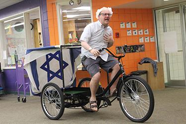 Rabbi Hammerman, on his 30-mile bike ride.
