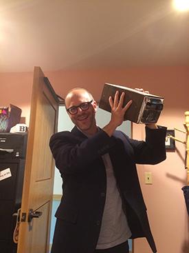 Rabbi Tepperman prizes his McDonald's napkin holder.
