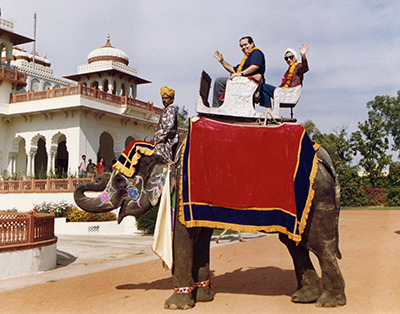 Justices Antonin Scalia and Ginsburg pose on an elephant in Rajistan during their tour of India in 1994. Courtesy of the collection of the Supreme Court of the United States.