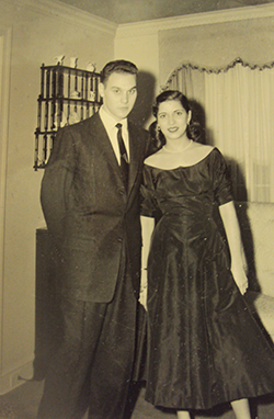 Ruth and Marty together at Marty's home, following their engagement party, which was held at the Persian Room of the Plaza Hotel in New York City on December 27, 1953. Courtesy of Justice Ginsburg's Personal Collection.
