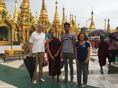Ted and Joyce at the Shwedagon Pagoda.