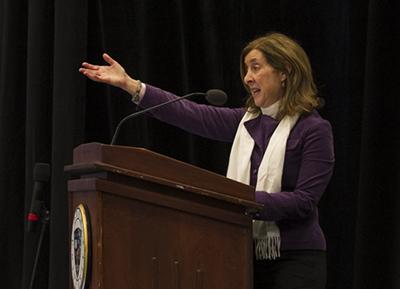 Sheryl Olitzky speaks to the crowd. Photo courtesy of Drew University/Karen Mancinelli.