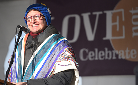 Rabbi Francine Green Roston speaking at the Love Not Hate event in downtown Whitefish on Saturday, January 7. (Brenda Ahearn/Daily Inter Lake)