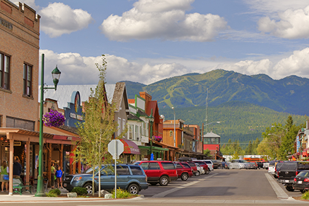 Looking down Central Avenue in downtown Whitefish, Montana, USA