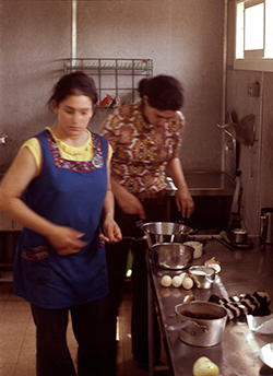 Galia (left) cooking for the Seder, 1972.