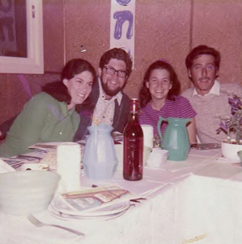 Galia Miller Sprung (second from right) with ex-husband Avramik (right) and brother and sister in law at that 1972 moshav Seder.