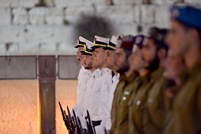 Opening ceremony of the Memorial day for Israel's fallen taking place at the Western Wall in Jerusalem. טקס פתיחת ארועי יום הזיכרון לחללי מערכות ישראל ברחבת הכותל המערבי בירושלים.